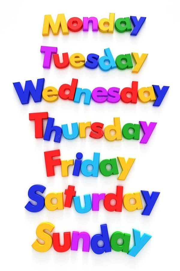 Días de la semana en imanes de la carta ilustración del vector