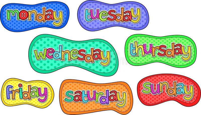 Días de las etiquetas del texto de la puntada de la semana libre illustration
