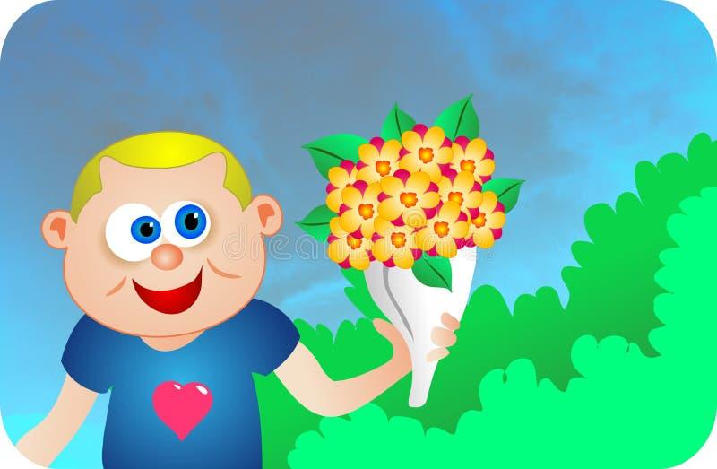 Dígala con las flores stock de ilustración
