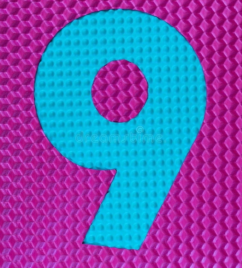 Dígito de goma multicolor número nueve fotografía de archivo libre de regalías