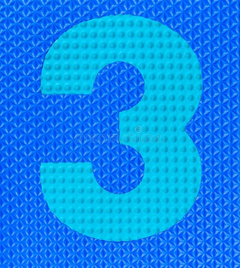 Dígito de goma multicolor número tres imagen de archivo