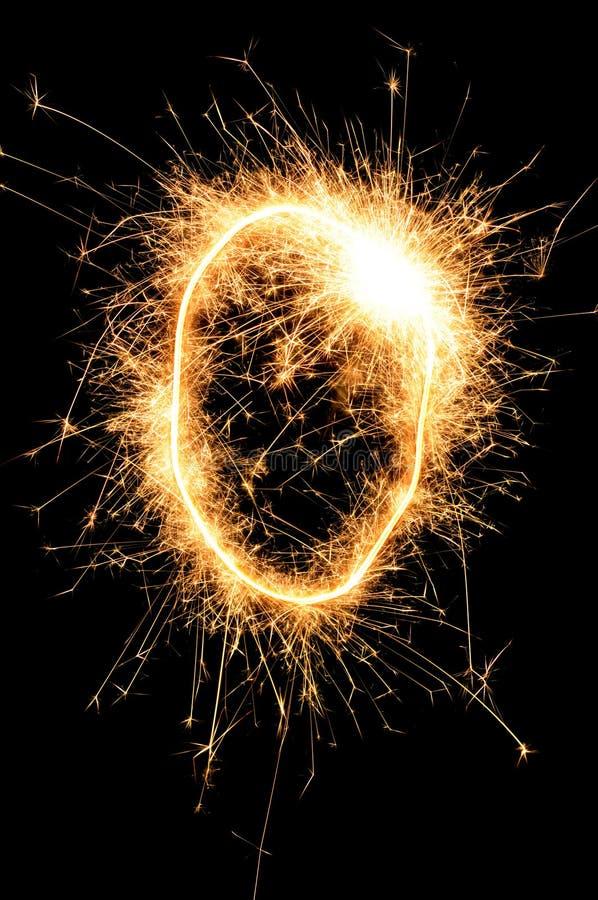 Dígito del Sparkler contra un fondo negro ilustración del vector
