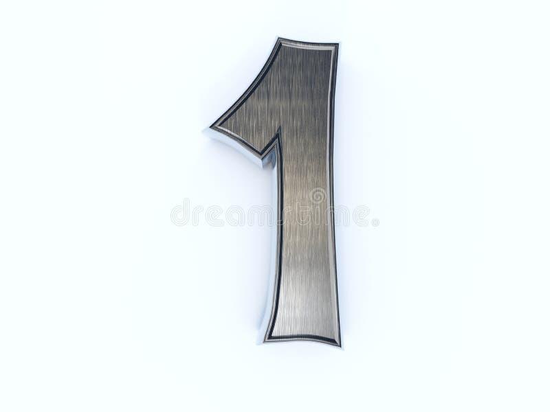 Dígito metálico um ilustração stock