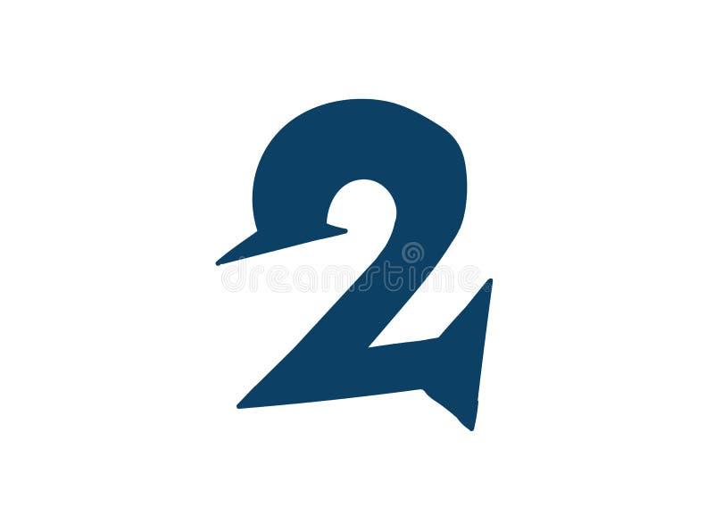 Dígito número 2 Vector logotipo para la compa??a Icono para el sitio Dígito separado del alfabeto stock de ilustración
