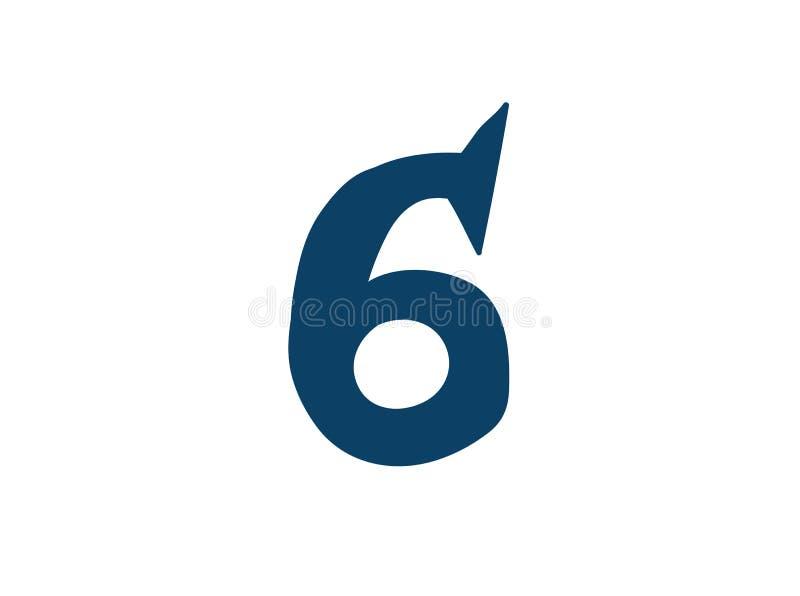Dígito número 6 Vector logotipo para la compa??a Icono para el sitio Dígito separado del alfabeto libre illustration