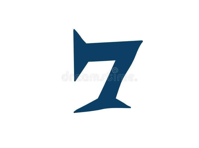 Dígito número 7 Vector logotipo para la compa??a Icono para el sitio Dígito separado del alfabeto ilustración del vector