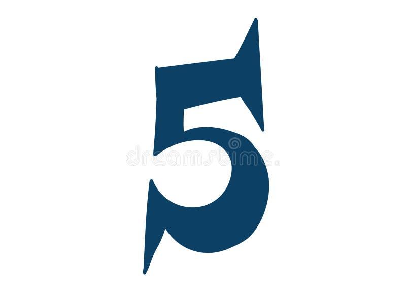 Dígito número 5 Vector logotipo para la compa??a Icono para el sitio Dígito separado del alfabeto stock de ilustración