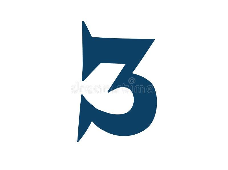 Dígito número 3 Vector logotipo para la compa??a Icono para el sitio Dígito separado del alfabeto stock de ilustración