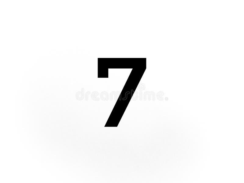 Dígito sete 7 na cor preta imagens de stock