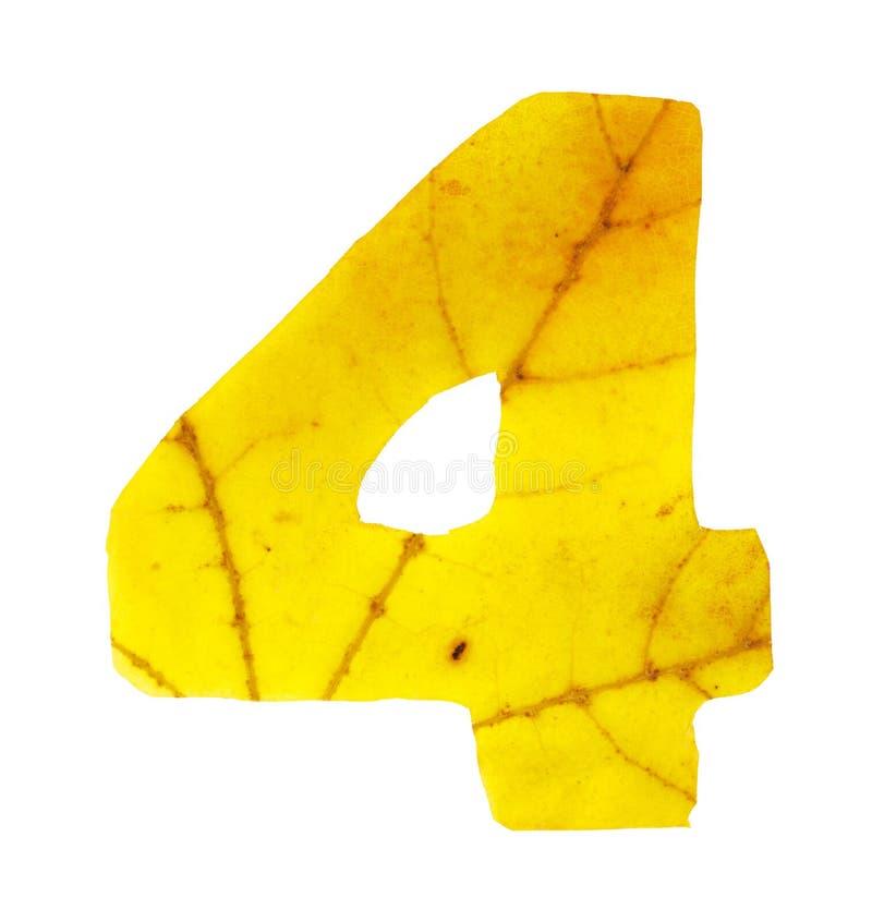 Dígito 4 tallado de las hojas de otoño fotos de archivo
