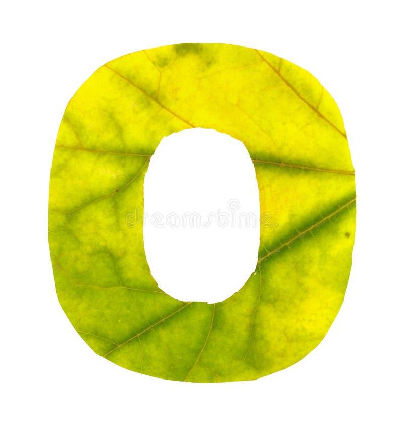 Dígito 0 tallado de las hojas de otoño foto de archivo libre de regalías
