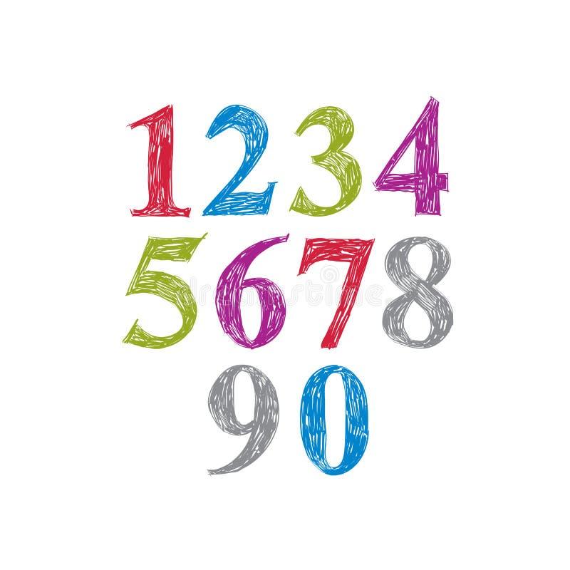 Dígitos à moda do vetor, numerais escritos à mão ilustração stock