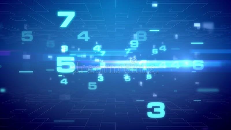 Dígitos abstratos que apressam-se no Cyberspace ilustração stock