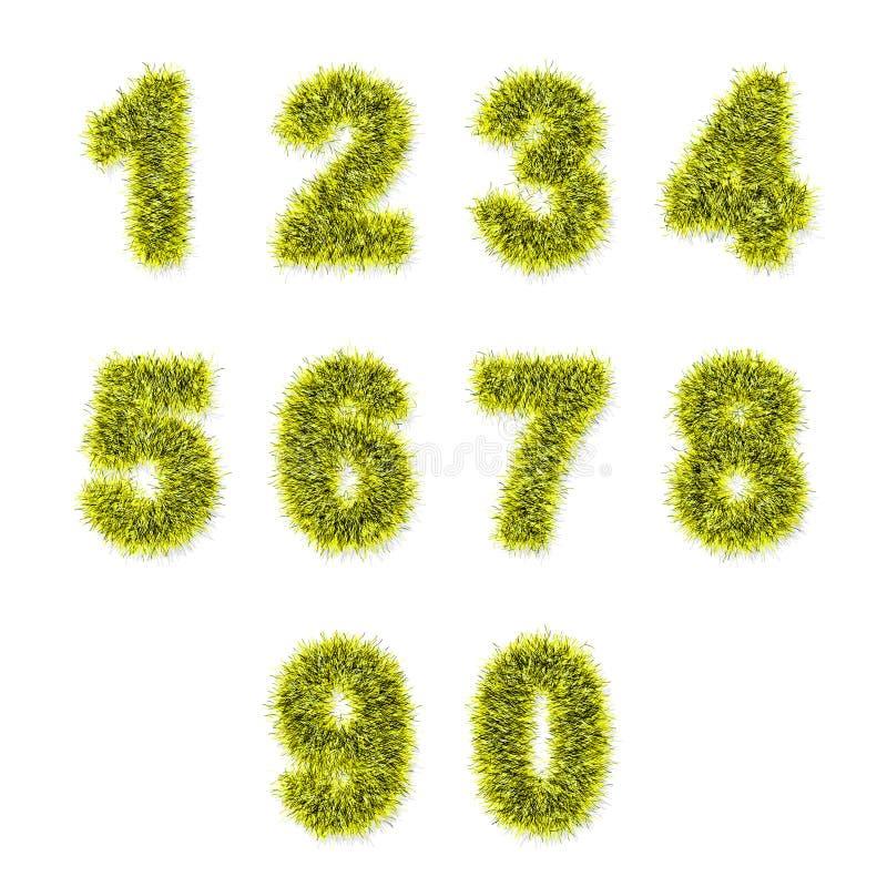 Dígitos amarillos del oropel en blanco stock de ilustración