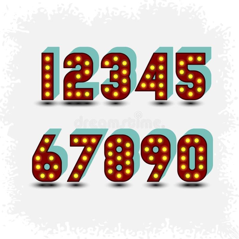 Dígitos de la bombilla stock de ilustración