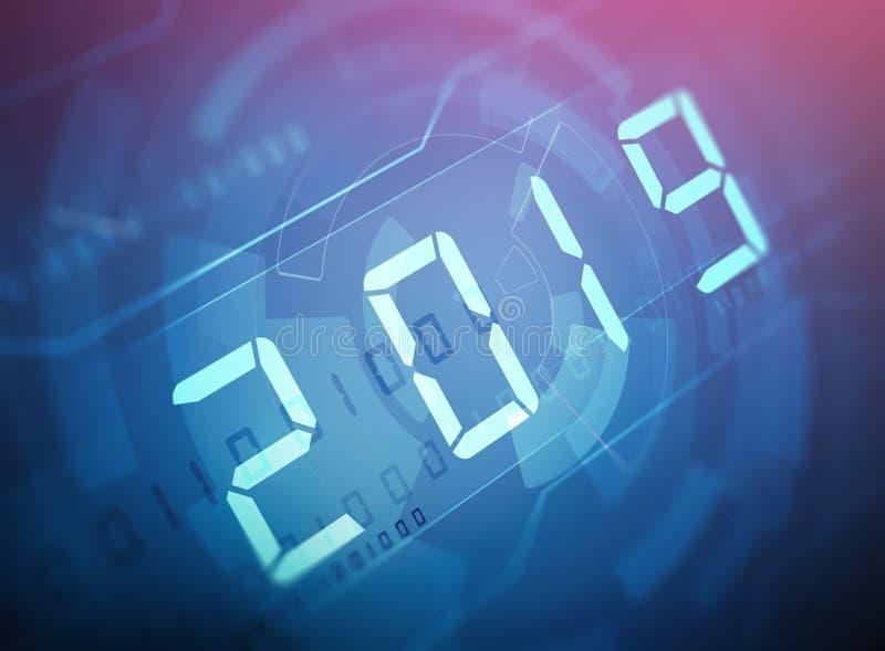 Dígitos del Año Nuevo 2019 ilustración del vector