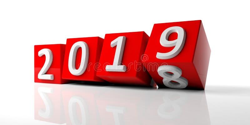 Dígitos del Año Nuevo 2019 en los cubos rojos aislados en el fondo blanco ilustración 3D stock de ilustración