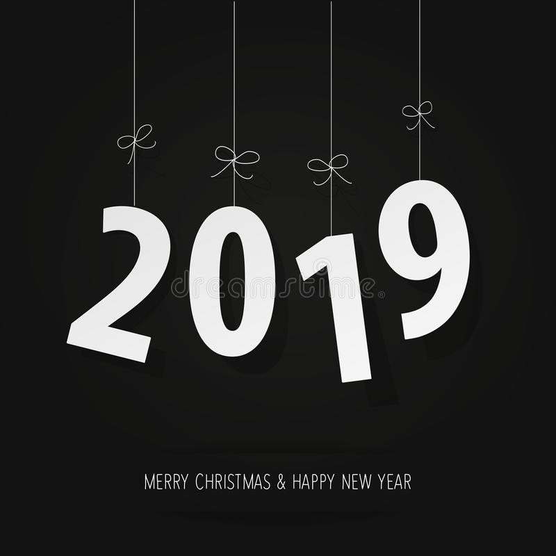 Dígitos del papel 2019 en un fondo negro libre illustration