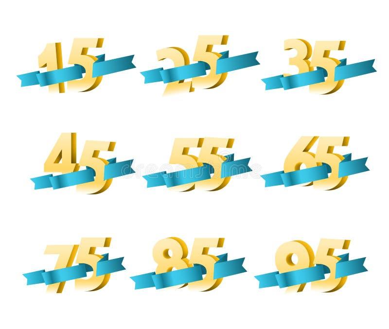 Dígitos diferentes com fitas ilustração do vetor