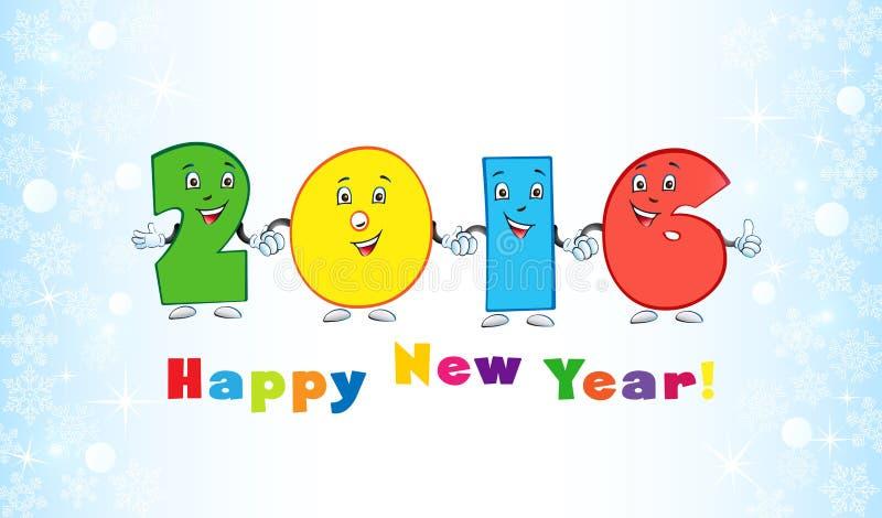 2016 dígitos divertidos del Año Nuevo stock de ilustración