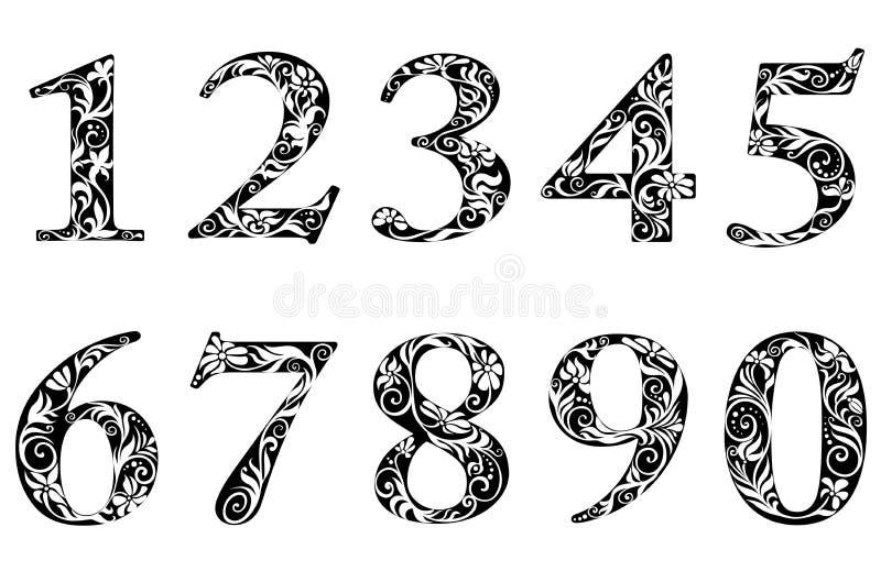 Dígitos e números com floral ilustração stock