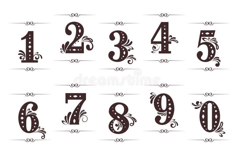Dígitos e números do vintage ilustração royalty free