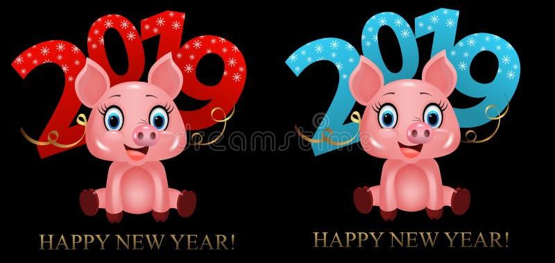 Dígitos 2019 e porco bonito do divertimento, símbolo do zodíaco no calendário chinês dos 2019 anos Vetor ilustração royalty free