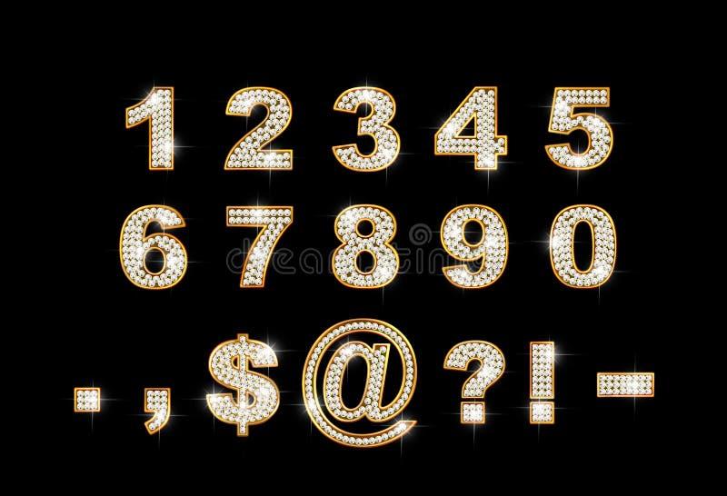 Dígitos e sinais brilhantes no fundo escuro ilustração stock