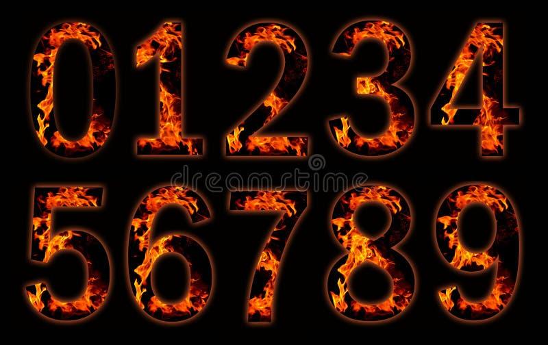 Dígitos en el fuego. stock de ilustración