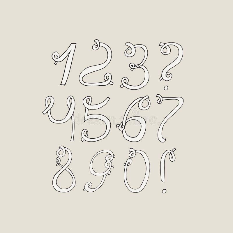 Dígitos funky desenhados à mão, isolados no fundo claro Ilustração tirada mão da sequência do grunge Números baseados em redemoin ilustração royalty free