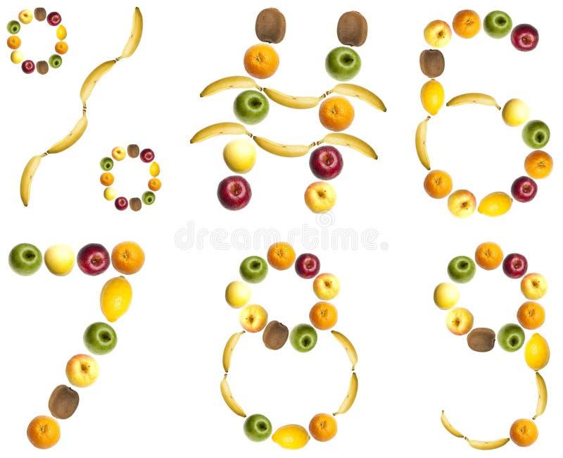 Dígitos hechos de frutas fotos de archivo libres de regalías