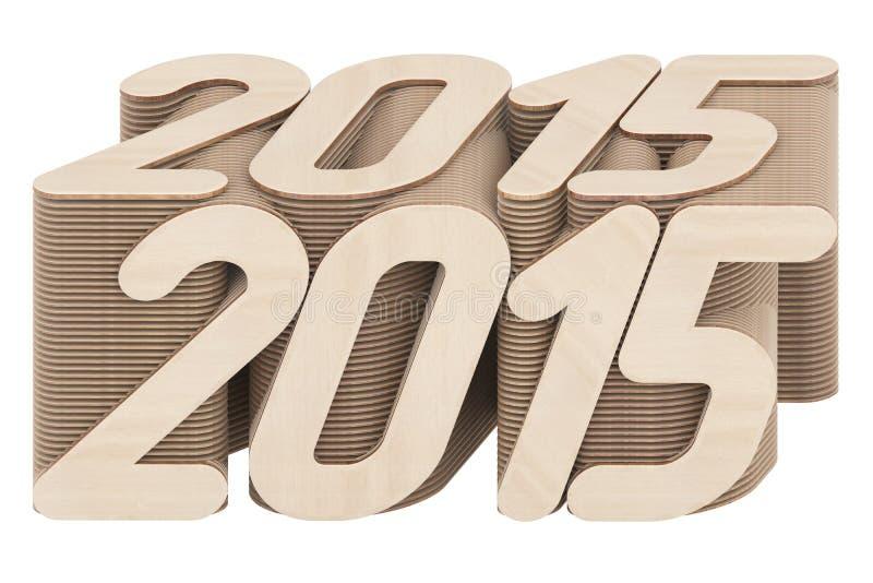 2015 dígitos integrados por los paneles de madera entrecruzados aislados en blanco foto de archivo libre de regalías