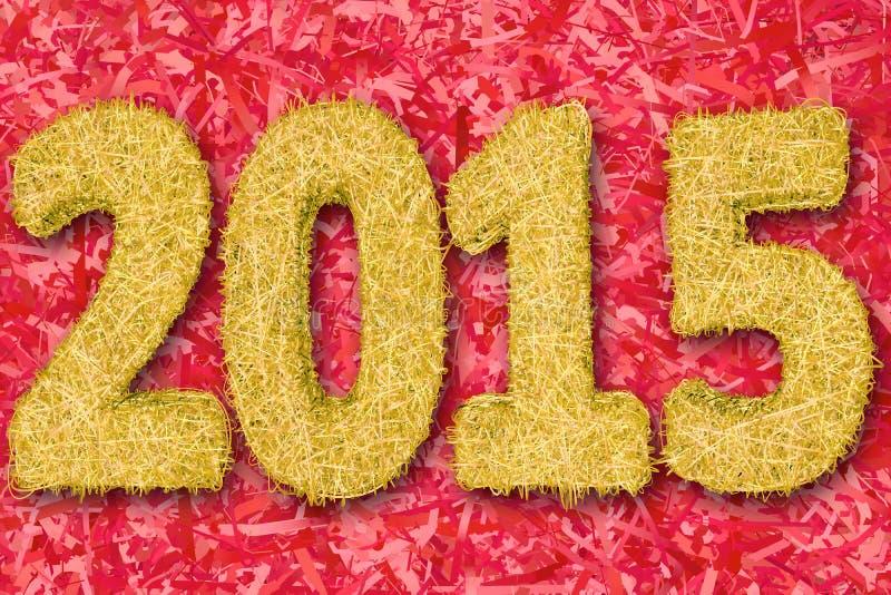 2015 dígitos integrados por rayas de oro en fondo rojo fotografía de archivo libre de regalías