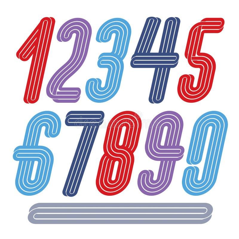 Dígitos modernos do vetor, coleção decorativa alta funky dos numerais ilustração stock