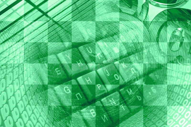 Dígitos, muestras del correo y teclado ilustración del vector