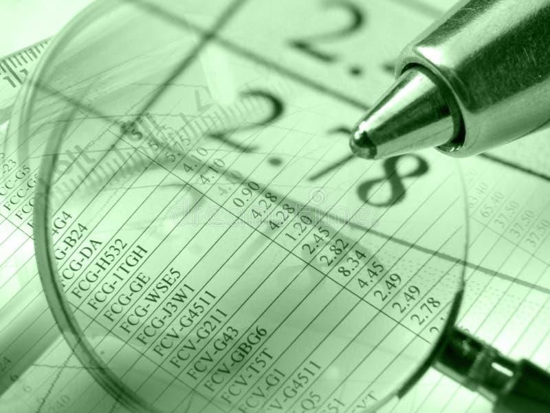 Dígitos, pena e régua, colagem (verde) imagem de stock royalty free