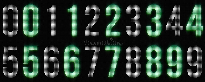 Dígitos que brillan intensamente punteados fotografía de archivo