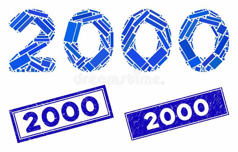 2000 Dígitos Texto Mosaico e Retângulo Arranqueado 2000 Selos ilustração royalty free