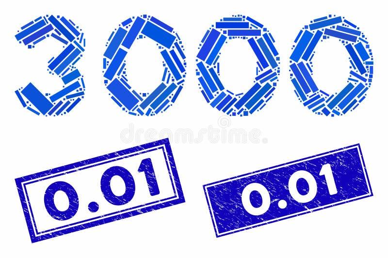 3000 Dígitos Texto Mosaico e Retângulo de Desvio 0 01 Marcas d'água ilustração stock