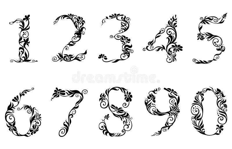 Dígitos y números fijados con floral libre illustration