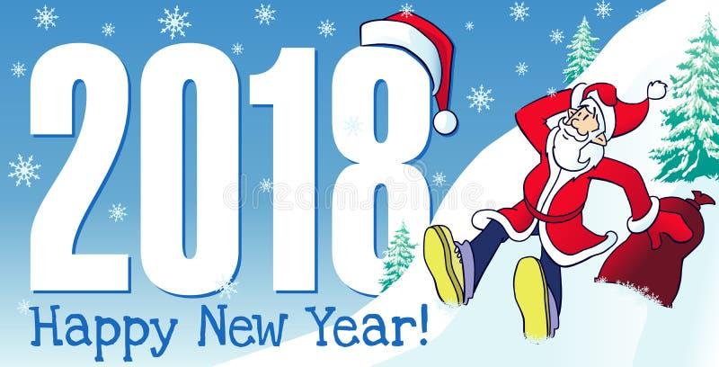 2018 dígitos y tarjeta de la Feliz Año Nuevo del inconformista de Papá Noel ilustración del vector