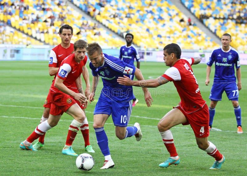 Dínamo Kyiv do jogo de futebol contra Metalurh Zaporizhya fotografia de stock royalty free