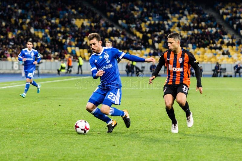 Dínamo ucraniano Kyiv - Shakhtar Donetsk, O del partido de liga primera imagen de archivo libre de regalías