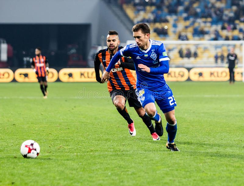 Dínamo ucraniano Kyiv - Shakhtar Donetsk, O del partido de liga primera imagen de archivo