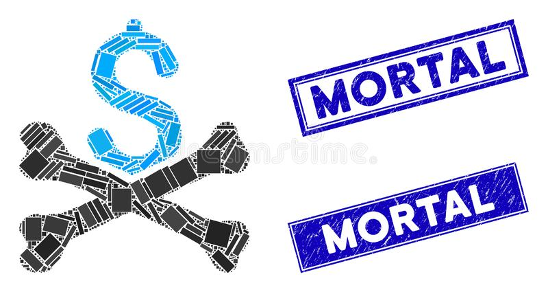 Dívida Mortal Mosaico e Retângulo Retangular Carimbo Mortal Carimbo ilustração stock