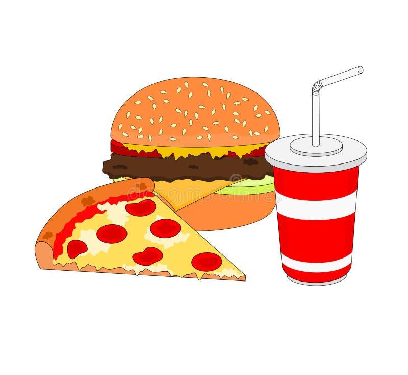 Dîner appétissant d'isolement d'aliments de préparation rapide illustration libre de droits