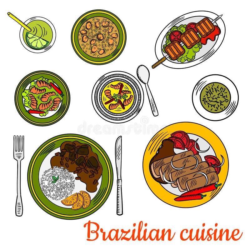 Dîner brésilien de barbecue avec l'icône de cocktail de chaux illustration de vecteur