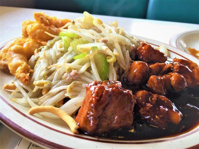 Dîner chinois de travers de porc de porc de BBQ photos libres de droits
