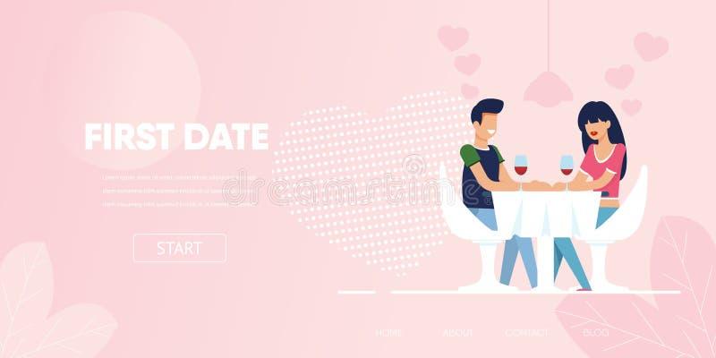 Dîner de date de causerie de flirt de femme d'homme au restaurant illustration de vecteur