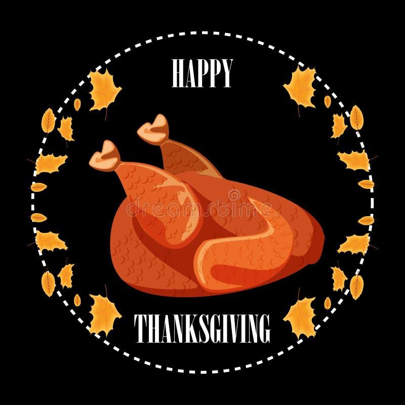 Dîner de la Turquie dans le cadre du jour de thanksgiving avec des feuilles illustration de vecteur